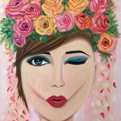 Wink Girl with Flowers !! size - 18x24In - 18x24