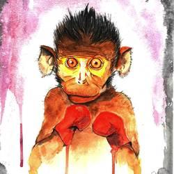 Monkey boxing  size - 8.27x11.61In - 8.27x11.61