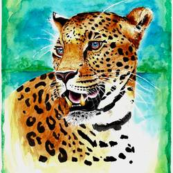 Leopard-Watercolor  size - 11.69x16.53In - 11.69x16.53