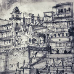 The Ghaats of Kashi, Benaras or Varanasi in ink, graphite and charcoals... size - 12x22In - 12x22