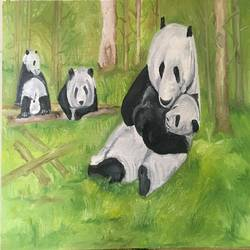 Panda and family size - 24x16In - 24x16
