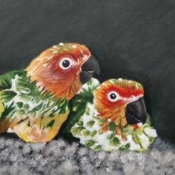 Chicks of parrot acrylics on canvas painting size - 12x16In - 12x16