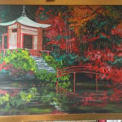 japanese temple size - 40x30In - 40x30