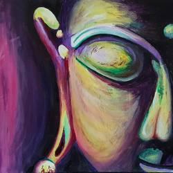 Half face Buddha  size - 20x16In - 20x16