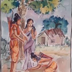 ram bharat milap size - 15.5x22.5In - 15.5x22.5