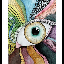 Doodle Eye Painting  size - 19.5x26.5In - 19.5x26.5