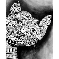 Doodle Cat Artwork size - 13x16.5In - 13x16.5