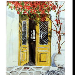 Door Acrylic Painting size - 14.2x18.2In - 14.2x18.2