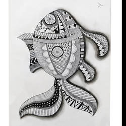 Mandala Fish work size - 15.2x20In - 15.2x20