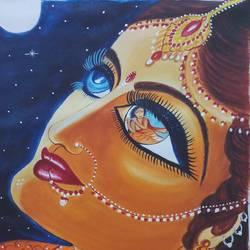 Krishna's shadow in Radhas eye size - 18x24In - 18x24