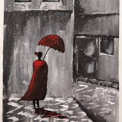 Girl with a red umbrella  size - 12x16In - 12x16
