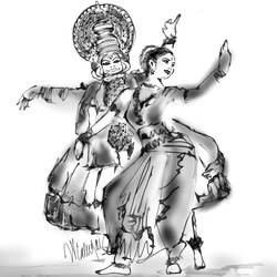 Katthakkali Dance size - 12x18In - 12x18