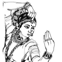 Mudra-2- Expression of Indian Classical Dance size - 12x18In - 12x18
