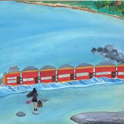 The Train on River  size - 16.2x11.5In - 16.2x11.5