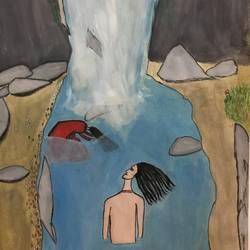 Yamuna Origin / Waterfall  size - 11.5x16.2In - 11.5x16.2