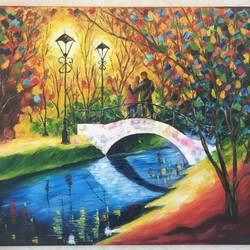 A romantic evening size - 28x24In - 28x24