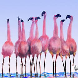 PAT- Flock of Flamingos size - 18x12In - 18x12