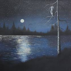 NIGHT VIEW SEA AND MOON IN SKY size - 18x19In - 18x19