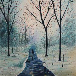a winter nature walk size - 24x34In - 24x34