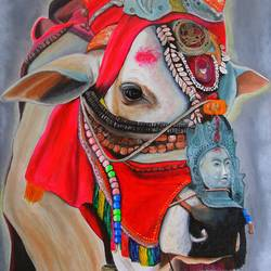Tibetan Holy Cow size - 17x23In - 17x23