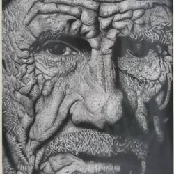 India old man portrait size - 7.5x8.5In - 7.5x8.5