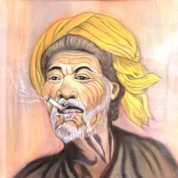 man with turban smoking size - 20x15In - 20x15