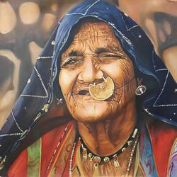 rajasthani old woman india size - 38x35In - 38x35