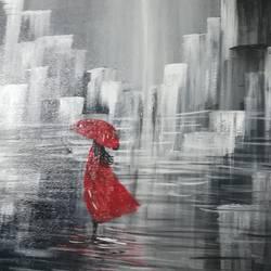 A walk in the rain size - 18x15In - 18x15