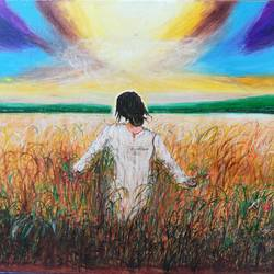 Lady walking in fields size - 24x18In - 24x18