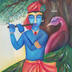 Krishna and the Peacock size - 24x36In - 24x36