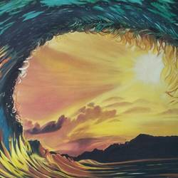 Waves at sunset size - 30x30In - 30x30