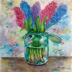 Glass flower vase with Hyacinth flowers size - 10x14In - 10x14
