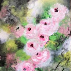 Vintage Pink Roses !! Abstract style size - 12x18In - 12x18