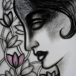 girl with lotus flowers size - 11x14In - 11x14