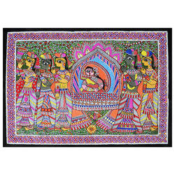 Doli Kahar Exclusive Madhubani Painting (Line Painting) on Hand Made Paper size - 20x24In - 20x24