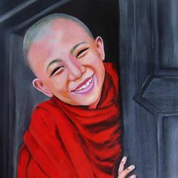 Tibetan Buddhist Child Monk  size - 16.5x23In - 16.5x23