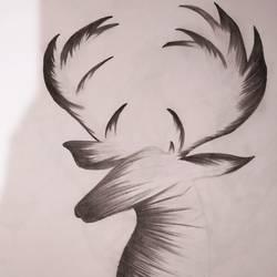 Deer sketch size - 10x12In - 10x12