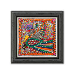 Madhubani Painting on Hand Made Paper, Depiction of Colourful Peacock size - 12x12In - 12x12