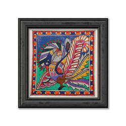 Madhubani Painting on Hand Made Paper, Depiction of Colourful Peacock,Exclusive Design. size - 12x12In - 12x12