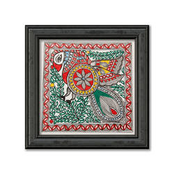 Madhubani Painting on Hand Made Paper,Multi Colour Painting of Peacock size - 12x12In - 12x12