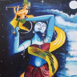 Radha Krishna Love moments size - 12x16In - 12x16