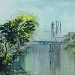 Original handpainted watercolor art for gift and Office Decor size - 25x17In - 25x17