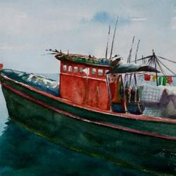 Fisherman Boat size - 20x14In - 20x14