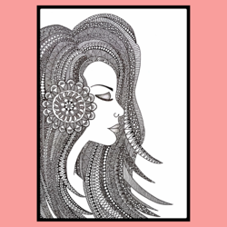 Doodle Girl Art size - 8.5x13.5In - 8.5x13.5