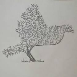 Modern TreeBird Art size - 8x11In - 8x11