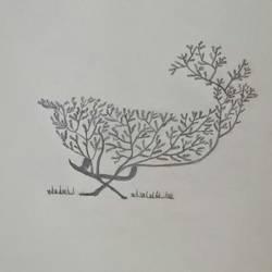 Modern Deer Tree Art size - 8x11In - 8x11