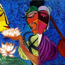 Radha Krishna Meera size - 24x18In - 24x18