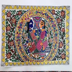 RADHA KRISHNA MADHUBANI size - 24x16In - 24x16