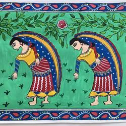 WOMEN PLANTING MADHUBANI size - 19x14In - 19x14