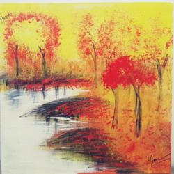 Autumn lakeside size - 20x20In - 20x20